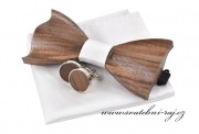 Zobrazit detail - Dřevěný motýlek, kapesník a knoflíčky