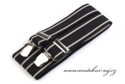 Hosenträger schwarz mit Leder - 3,5 cm Breite
