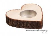 Zobrazit detail - Svícen srdce s imitací kůry - 10 cm