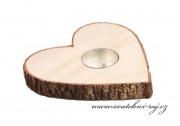 Zobrazit detail - Svícen srdce s imitací kůry - 15 cm