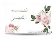 Zobrazit detail - Svatební jmenovka s květy starorůžové