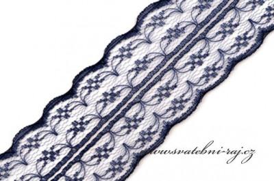 Dekorační krajka navy blue, šíře 4,5 cm