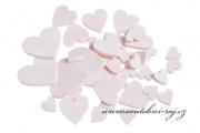 Zobrazit detail - Dřevěná srdce růžová - 36 ks