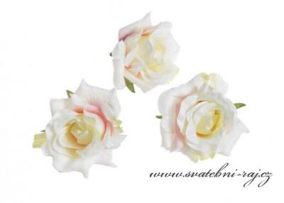 Hlavičky růží pastelové - 12 ks