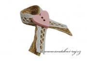 Zobrazit detail - Jutový vývazek s růžovým knoflíčkem