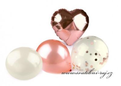 Sada balónků ve starorůžové barvě