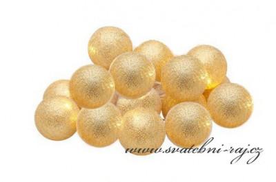Světelný řetěz koule zlatý - 10 balónků