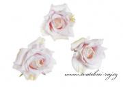 Hlavičky růží světle růžové - 12 ks