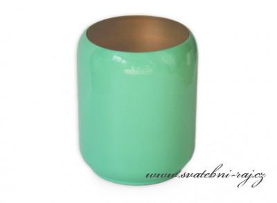 Kovová váza mátová, výška 17 cm