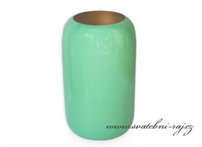Kovová váza mátová, výška 25,5 cm