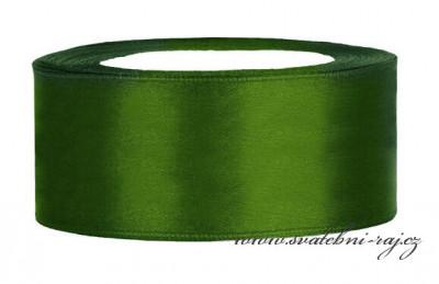 Saténová stuha tmavě zelená 4 cm