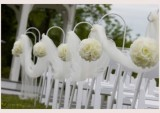 Dekorační koule z růžiček v bílé barvě