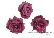 Hlavičky růží burgundy - 12 ks