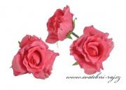 Hlavičky růží růžové - 12 ks
