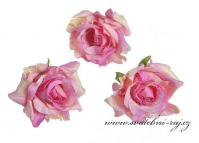 Hlavičky růží růžové žíhané - 12 ks