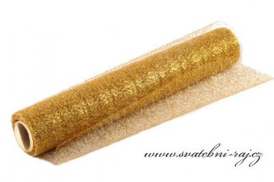 Organza pavučinka zlatá s lurexem